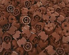 Lego X100 Bulk Reddish Brown Bricks Round 2x2 with Flutes Grille and Axle Hole