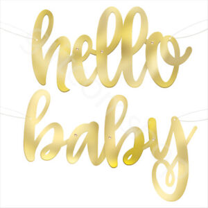 Gold HELLO BABY Bunting Banner Baby Shower Decorations Unisex Gender Reveal