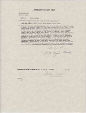 SIGNED RUTH HYDE PAINE 1963 AFFIDAVIT IN ANY FACT TO POLICE - JFK ASSASSINATION