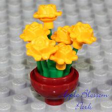 NEW Lego Minifig FLOWER POT w/Yellow Rose Flowers - Girl Friends Garden Display