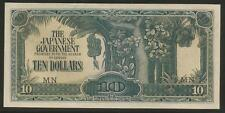 Malaya Japanese Invasion Money 10 Dollars 1940's WWII Scarce MN Block AU