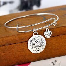 Bracciale rigido con doppio ciondolo ALBERO DELLA VITA Tree of life -Col.Argento
