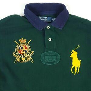 Ralph Lauren Big Yellow Pony Crest Green Kids/Youth Polo Shirt Size Medium