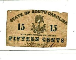 "15 CENT ""STATE OF SOUTH CAROLINA"" 1800'S 15 CENT ""STATE OF SOUTH CAROLINA"" ROUGH"