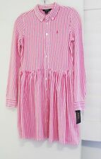 Ralph Lauren Girls Striped Interlock Shirtdress Pink Sz XL (16) - NWT