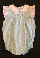 Vintage New 3-6 mo Baby Girl Romper aqua Floral Lace flutter sleeves Bow Infant