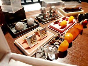 Set Vintage Soviet Cufflinks Amber Gift Box USSR