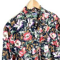 Reyn Spooner Men's Large Black & Red Floral Hawaiian Aloha Cotton Rayon Shirt