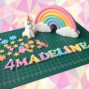 Edible Unicorn Cake Topper Rainbow Handmade Decoration Gold Rainbow Set Girl Boy
