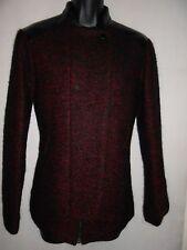 NEUF Comptoir des Cotonniers Noir-Rouge Laine Veste en cuir EU36 RRP £ 160