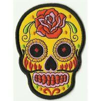 Un écusson ° tete de mort MEXICO avec rose-rouge-bleu ° patch
