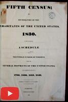"U.S. 5th Census 1830 Washington D.C. ""colored persons"" Slaves rare huge book"