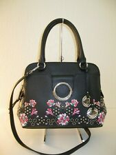 Calvin Klein Black Saffiano Leather Reese Floral Convertible Satchel Bag $268