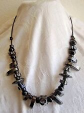 Lot of 9 Retro Vintage  JET BLACK Porcelain Greek  Ceramic Bead Necklace