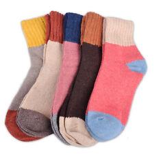 5 Paare Farbe Wolle Socken Damen Kaschmir Dicken Warme Feste Wintersocken Weich