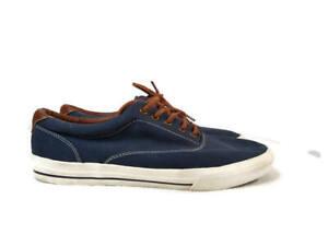 Tommy Hilfiger Men's Boat Shoes Blue Canvas Leather Trim Size 12 Tennis Shoes