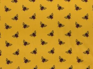 """BEES ON BRIGHT GOLD CORD CORDUROY 100% COTTON 11 WALE FABRIC 58"""" WIDTH"""