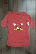New Women's Disney Mickey Red 3/4 Sleeve Shirt Size XS