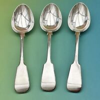 DESSERT SPOONS x3 FIDDLE BACK ANTIQUE SILVER PLATE CUTLERY - EP CROWN