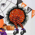 Hanging Halloween Wreaths Sign Front Door Fall Wreath Witch Legs Decoration US