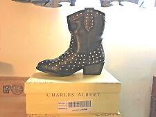 Charles Albert Western Cowboy Black Studded Boots