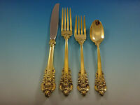 Grande Baroque by Wallace Sterling Silver Flatware Service 8 Set Gold Vermeil