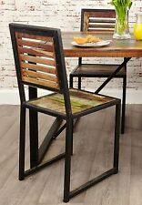 Agra reclaimed wood furniture set of two dining chairs