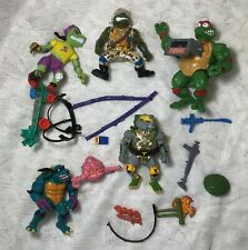 Lot of 6 Vintage Teenage Mutant Ninja Turtles Toys with Lots of Accessories TMNT