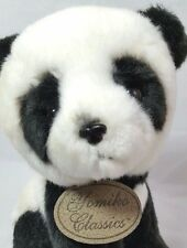 Panda Bear Plush Yomiko Classics Russ Black White Leather Tag Stuffed Animal 7""
