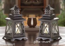 "2 black rustic colonial lighthouse 9"" tall Candle holder Lantern outdoor terrace"