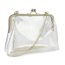 Stylish Women's Clear PVC Lock Bag Shoulder Bag Clutch Bag with Removable Chain