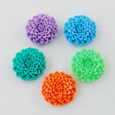 RESIN FLOWER CABOCHONS ASSORTED Large 24mm Dahlia Flower Flat Back 24pcs