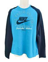 NIKE Sportswear NSW Track and Field Long Sleeved Retro Cotton Tee Shirt Blue XL