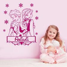 Personalisiert Eiskönigin olaf, Elsa & Anna Disney Wandkunst Aufkleber 4 größen