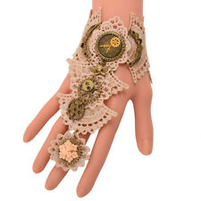 Victorian Gear Lace Wrist Cuff Vintage Gothic Steampunk Lace Bracelet With Ring
