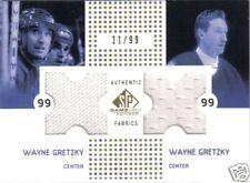 2002 02-03 SP GAME USED FABRICS WAYNE GRETZKY GOLD DUAL JERSEY