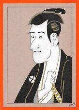 Dessin encre de chine & aquarelle Japon Hand made china ink signé Geneviève n28