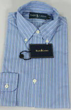 Polo Ralph Lauren Dress Shirt Mens 15.5 39 Blue White Navy Pony Cotton