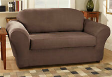 Sure Fit Sofa Slipcover Stretch Suede Brown / Chocolate Box Style Seat Cushion