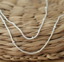 Genuine 925 Sterling Silver SNAKE Chain with Bead Balls Necklace UK SUPPLIER