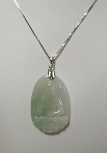in Sterling pendant necklaceL4045cm 2 options Buddha Certified green A grade Jadeite Jade GuanYin