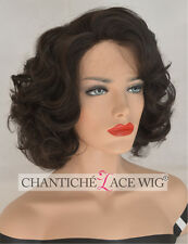Curly Short Bob Black Wig Synthetic Hair Lace Front Wigs For Women Heat Good UK