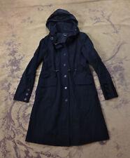 THEORY Womens Black Hooded Cotton Utility Parka Jacket Coat M 8 10