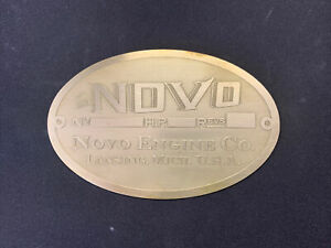 New Novo antique Hit And Miss Gasoline Engine Brass Data Tag