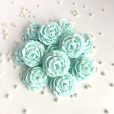 Duck Egg Blue Roses & Pearls Sugar Edible Flowers Wedding Cake Topper Decoration