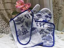 BLUE WILLOW KITCHEN APRON, OVEN MITT & POT HOLDER ORIENTAL ASIAN CHINESE PAGODA