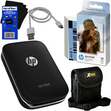HP Sprocket Photo Printer,Black + Photo Paper, 60 sheets + Case + USB Cable