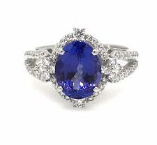 Estate Oval Tanzanite & Diamond Halo Ring in Platinum - HM2060NE