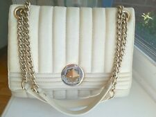 Kate Spade Gold Coast Evangeline Quilted Leather Chain Bag Flap Purse Cream