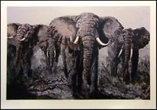 """Mark King """"Elephant Stand"""" Signed Art African Bull Safari L@@K Submit Best Offer"""